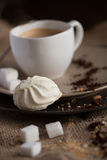 Cup of hot espresso coffee, and cookie Stock Photography