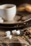 Cup of hot espresso coffee, and cookie Royalty Free Stock Images