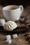 Cup of hot espresso coffee, and cookie Royalty Free Stock Image