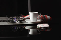 Cup of hot espresso coffee on wood table, espresso brew from ara Stock Image