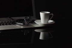 Cup of hot espresso coffee on wood table, espresso brew from ara Stock Photos