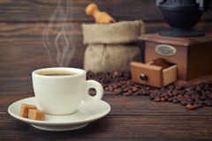 Cup of hot espresso Stock Photo