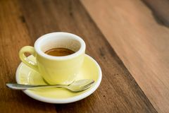 Hot expresso coffee. A cup of hot expresso coffee royalty free stock photo