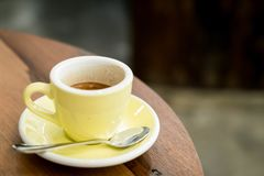 Hot expresso coffee. A cup of hot expresso coffee royalty free stock photography