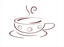 Cup of hot fresh cofee, vecor illustration Royalty Free Stock Images