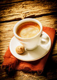 Cup of hot frothy espresso coffee Royalty Free Stock Photo