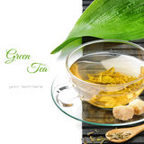 Cup of hot green tea Stock Images