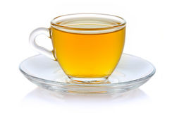 Cup of hot green tea isolated on white Stock Images