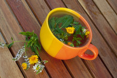 Cup of hot herbal tea on a table Stock Photo