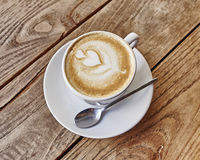 Cup of hot latte art coffee Royalty Free Stock Photos