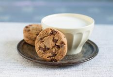 Cup of hot milk and homemade chocolate chip cookies. On vintage plate Royalty Free Stock Photography