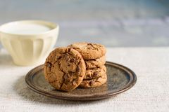 Cup of hot milk and homemade chocolate chip cookies. On vintage plate Royalty Free Stock Photo