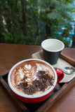 A cup of hot mocha coffee with chocolate Royalty Free Stock Photo