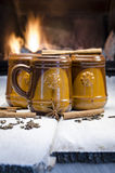 Cup of hot mulled wine Royalty Free Stock Images