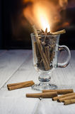 Cup of hot mulled wine Stock Images