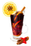 Cup of Hot red mulled wine isolated on white background with chr Royalty Free Stock Photo
