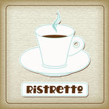 A cup of hot ristretto in the old cardboard Stock Images