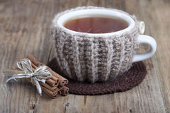 Cup of hot spiced tea in cover - warmer  . Royalty Free Stock Photography