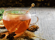 Cup of hot sweet spiced tea or gluhwein Stock Photo