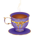 Cup of hot tea. On a saucer stock illustration