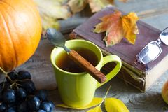 Cup of hot tea autumn leaves book and glasses cold day abstract still life on wooden boards royalty free stock image