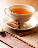 Cup of hot tea with cinnamon Stock Images
