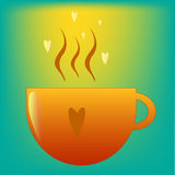 Cup of hot tea or cofee or chocolate with love. Vector illustration Stock Photos