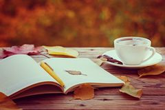 Cup of hot tea or coffee with yellow leaves and notebook on nature background. Concept autumn mood Royalty Free Stock Image