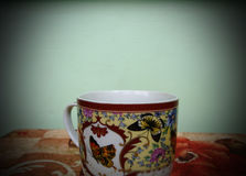 Cup of hot tea in cold autumn. And winter Stock Images