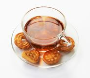 Cup of hot tea with cookies Royalty Free Stock Photography