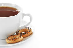Cup of hot tea and cookies Royalty Free Stock Photo