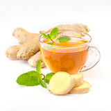 Cup of hot tea with ginger, lemon and mint Stock Photography