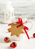Cup of hot tea and gingerbread Royalty Free Stock Photo