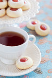 Cup of hot tea and homemade almond cookies Royalty Free Stock Image