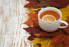 Cup of hot tea with lemon Royalty Free Stock Images