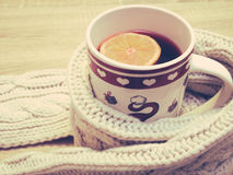 Cup of hot tea with lemon dressed in warm winter scarf on wooden background Stock Image