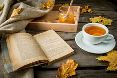 Cup of hot tea with lemon and ginger on a rustic table Stock Photos