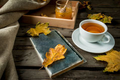 Cup of hot tea with lemon and ginger on a rustic table Royalty Free Stock Photo