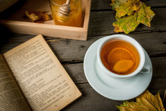 Cup of hot tea with lemon and ginger on a rustic table Royalty Free Stock Image