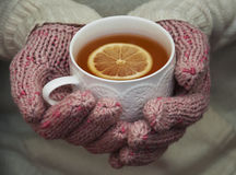 Cup of hot tea with lemon Royalty Free Stock Photo