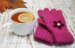 Cup of hot tea with lemon and gloves Stock Images