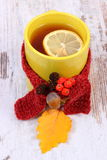 Cup of hot tea with lemon wrapped woolen scarf and autumnal leaf, warming beverage for flu Royalty Free Stock Images