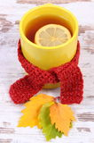 Cup of hot tea with lemon wrapped woolen scarf and autumnal leaves, warming beverage for flu Royalty Free Stock Photos