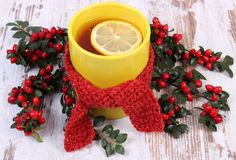 Cup of hot tea with lemon wrapped woolen scarf and cotoneaster, warming beverage for flu Royalty Free Stock Photography