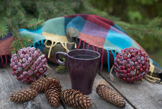 Cup of hot tea on a rustic wooden table. Royalty Free Stock Photo