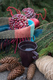 Cup of hot tea on a rustic wooden table. Royalty Free Stock Images