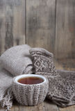 A cup of hot tea , scarf and gloves with ornament. Stock Images