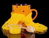 Cup of Hot tea in scarf with honey Royalty Free Stock Photo