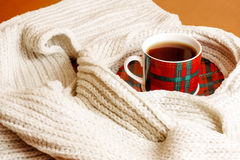 Cup of hot tea and scarf Stock Photo