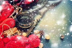 Cup Hot Tea Steam Red Knitted Cloth Winter Time Royalty Free Stock Images